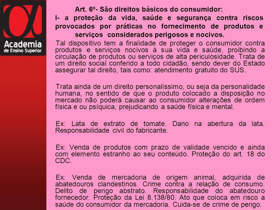 Art. 6º- São direitos básicos do consumidor: I- a proteção da vida, saúde e segurança contra riscos provocados por práticas no fornecimento de produto