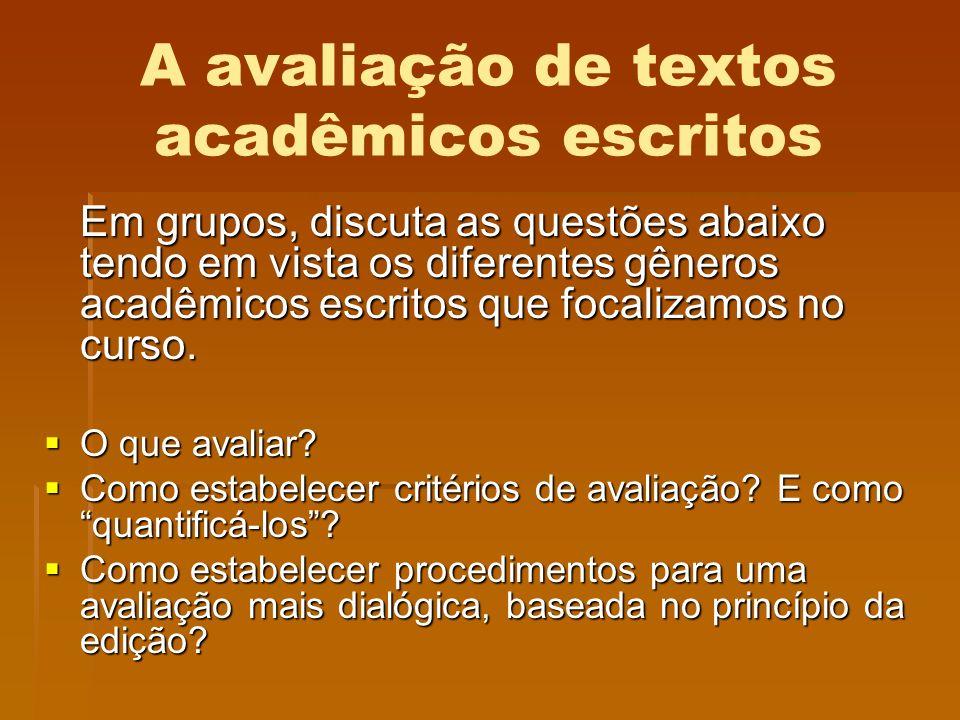 A avaliação de textos acadêmicos escritos Em grupos, discuta as questões abaixo tendo em vista os diferentes gêneros acadêmicos escritos que focalizam