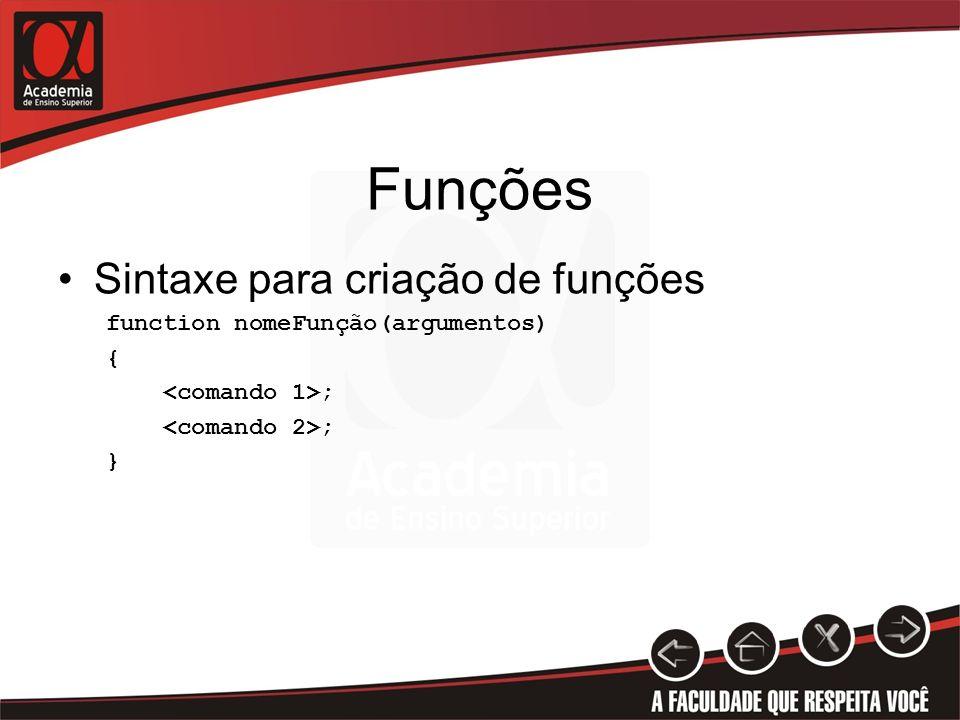 Funções Sintaxe para criação de funções function nomeFunção(argumentos) { ; }