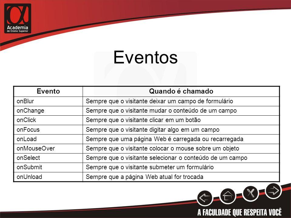 Eventos EventoQuando é chamado onBlurSempre que o visitante deixar um campo de formulário onChangeSempre que o visitante mudar o conteúdo de um campo