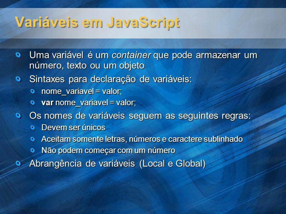 Variáveis em JavaScript Uma variável é um container que pode armazenar um número, texto ou um objeto Sintaxes para declaração de variáveis: nome_varia