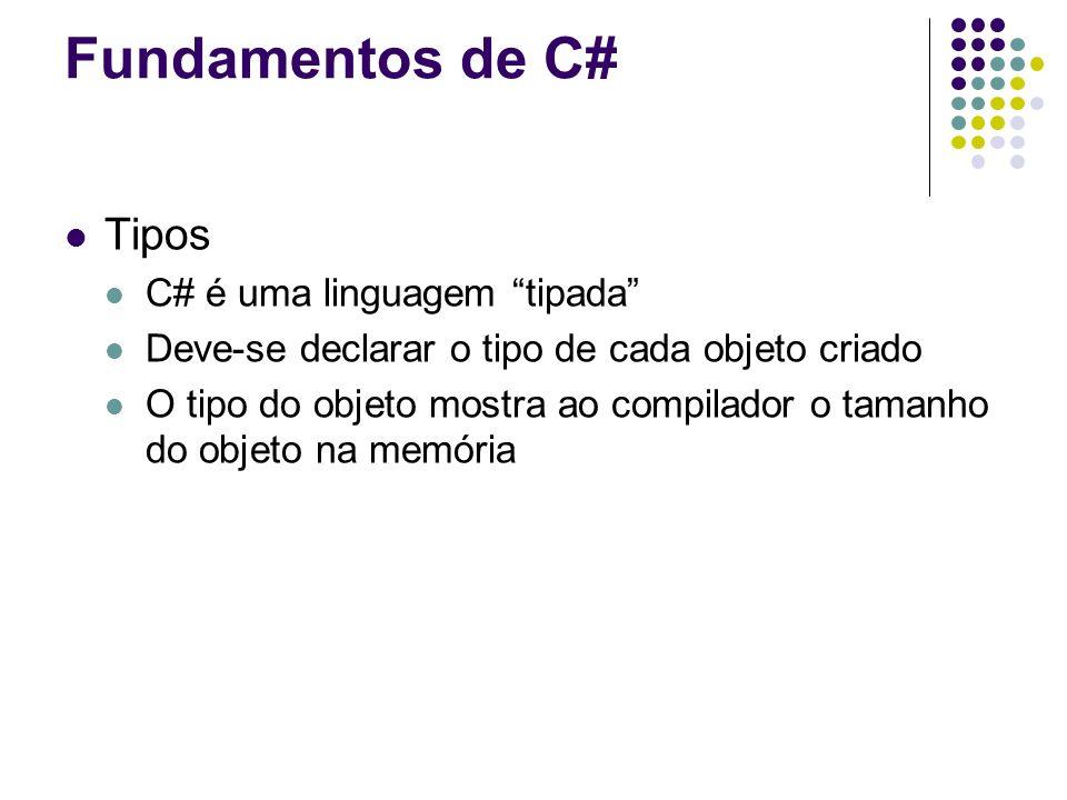 Fundamentos de C# Tipos C# é uma linguagem tipada Deve-se declarar o tipo de cada objeto criado O tipo do objeto mostra ao compilador o tamanho do obj