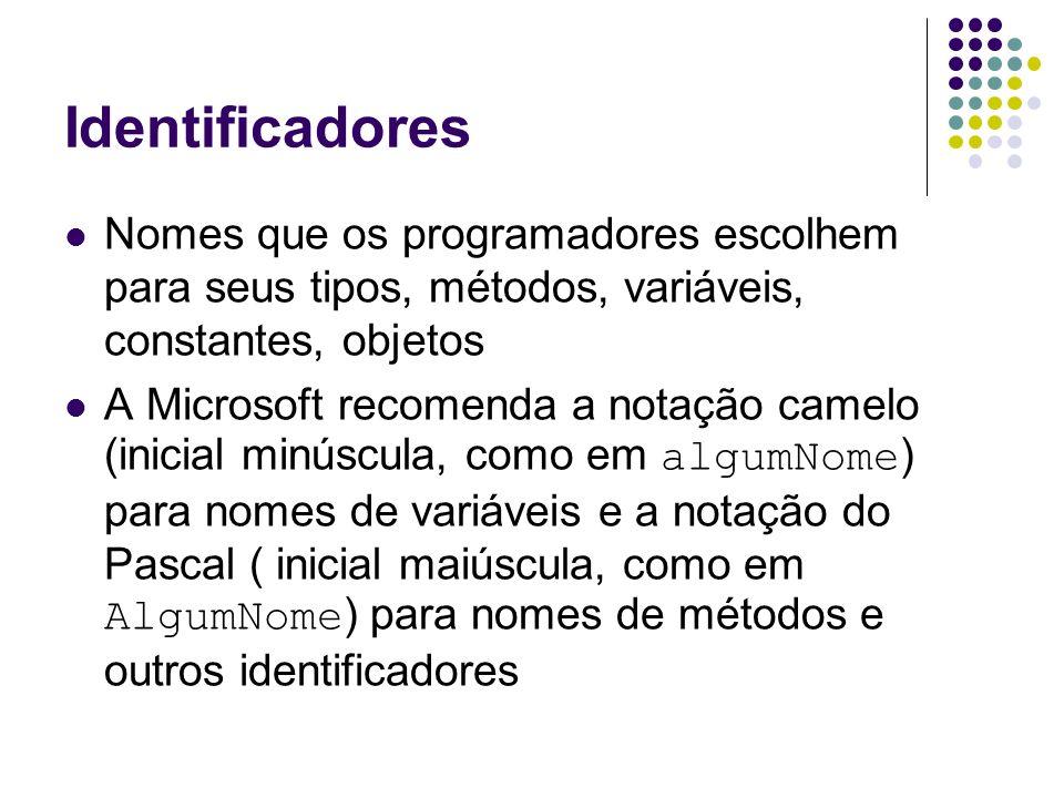Identificadores Nomes que os programadores escolhem para seus tipos, métodos, variáveis, constantes, objetos A Microsoft recomenda a notação camelo (i