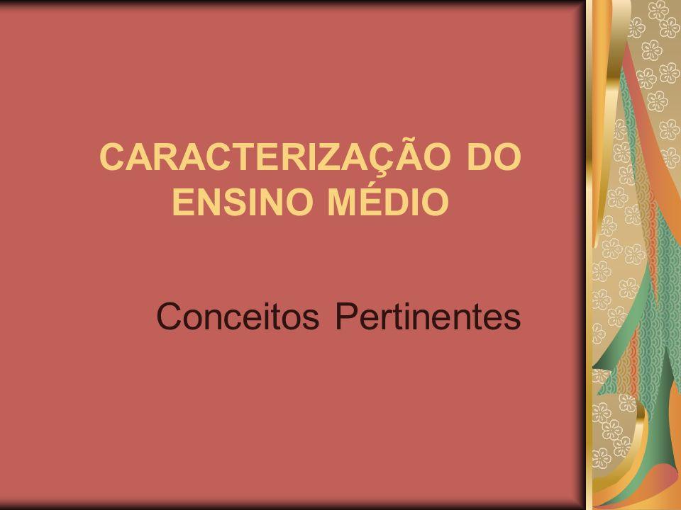 CARACTERIZAÇÃO DO ENSINO MÉDIO Conceitos Pertinentes