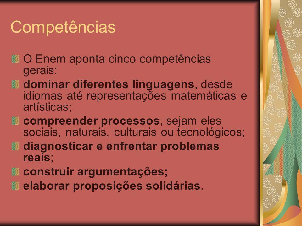 Competências O Enem aponta cinco competências gerais: dominar diferentes linguagens, desde idiomas até representações matemáticas e artísticas; compre