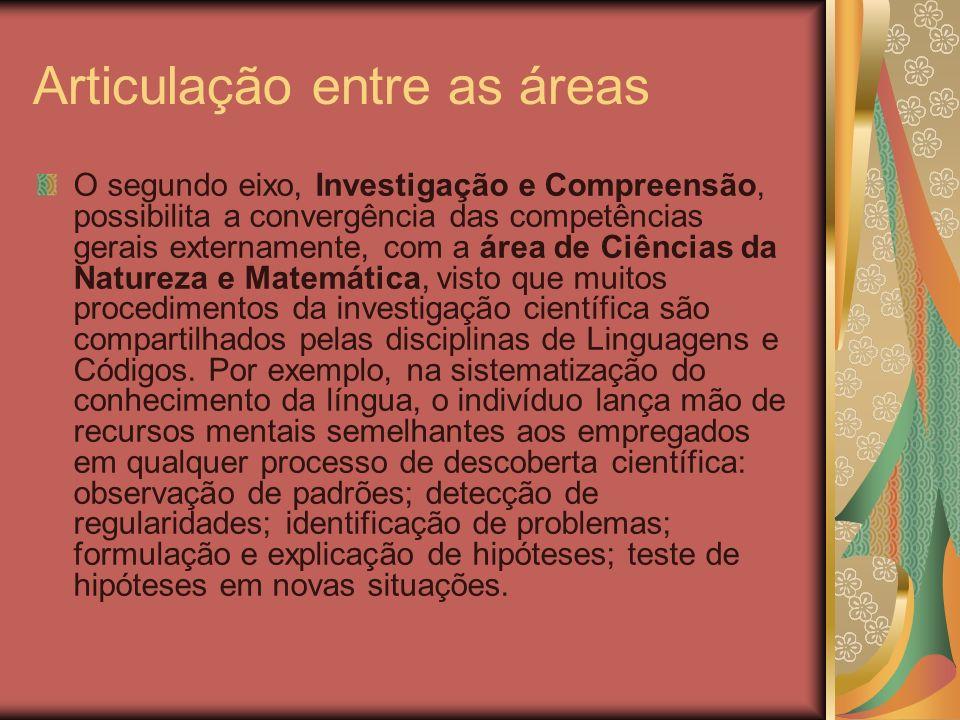 Articulação entre as áreas O segundo eixo, Investigação e Compreensão, possibilita a convergência das competências gerais externamente, com a área de
