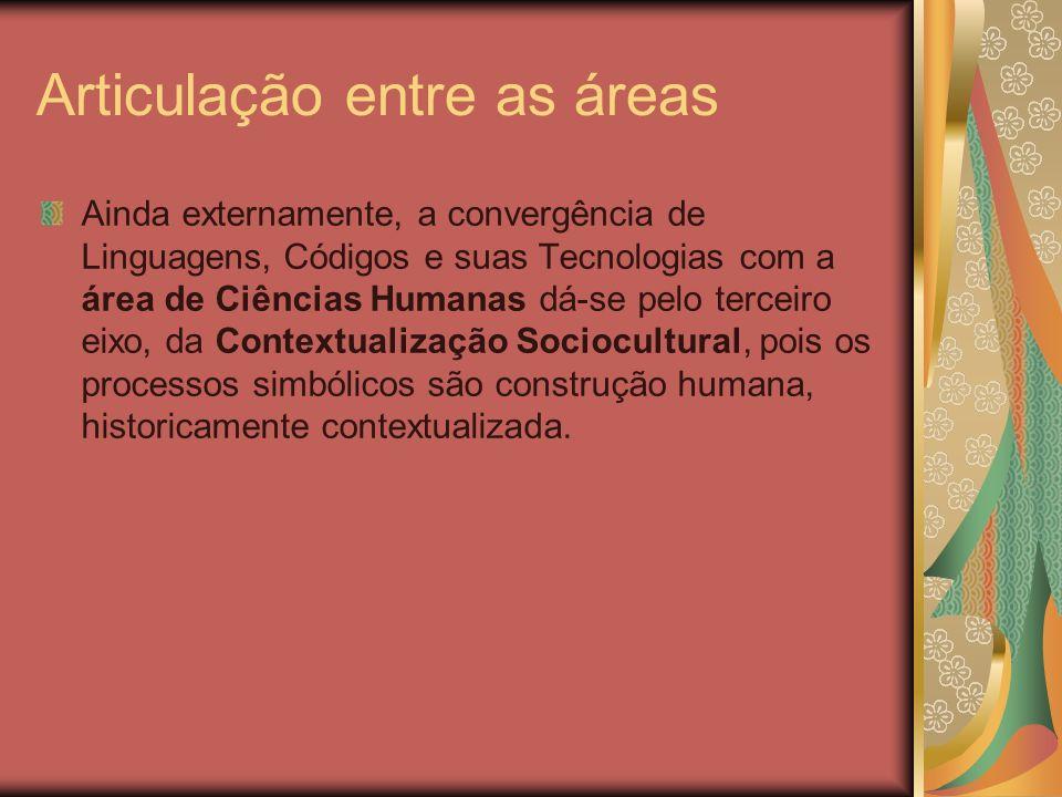 Articulação entre as áreas Ainda externamente, a convergência de Linguagens, Códigos e suas Tecnologias com a área de Ciências Humanas dá-se pelo terc
