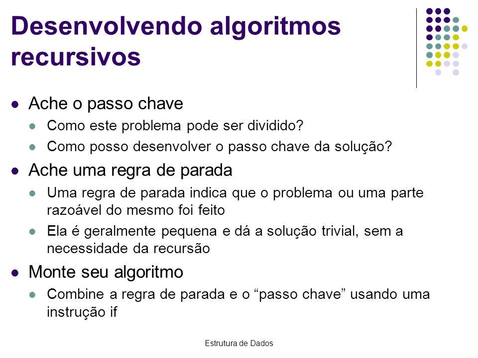 Estrutura de Dados Desenvolvendo algoritmos recursivos Ache o passo chave Como este problema pode ser dividido? Como posso desenvolver o passo chave d