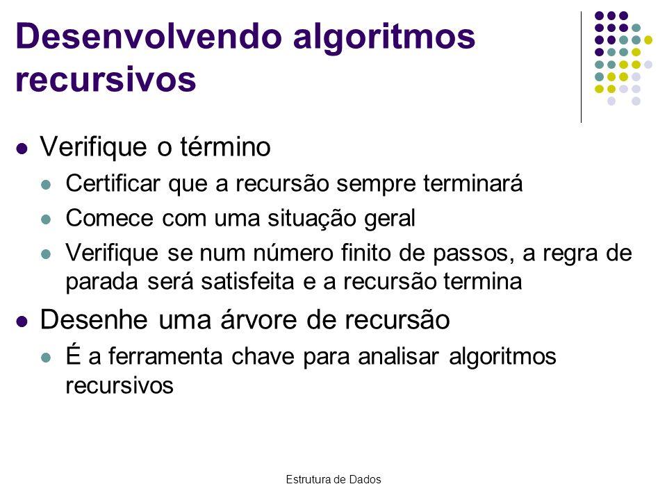 Estrutura de Dados Desenvolvendo algoritmos recursivos Verifique o término Certificar que a recursão sempre terminará Comece com uma situação geral Ve