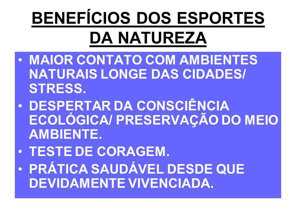 BENEFÍCIOS DOS ESPORTES DA NATUREZA MAIOR CONTATO COM AMBIENTES NATURAIS LONGE DAS CIDADES/ STRESS. DESPERTAR DA CONSCIÊNCIA ECOLÓGICA/ PRESERVAÇÃO DO