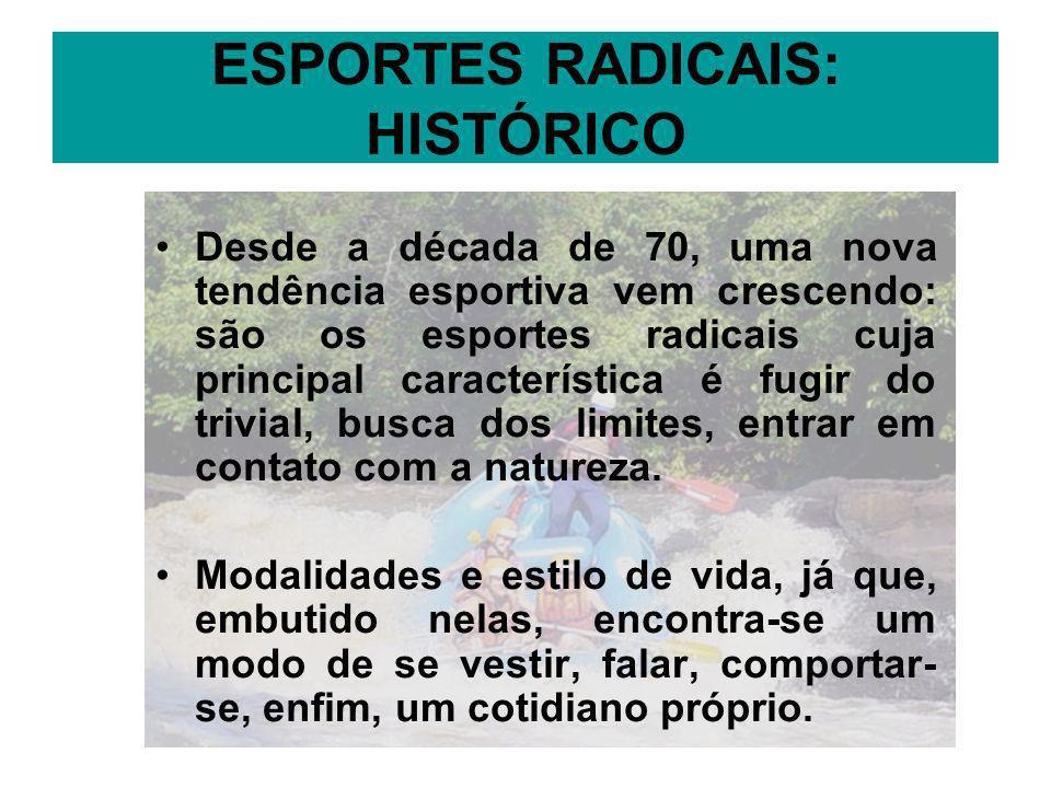 ESPORTES RADICAIS: HISTÓRICO Desde a década de 70, uma nova tendência esportiva vem crescendo: são os esportes radicais cuja principal característica