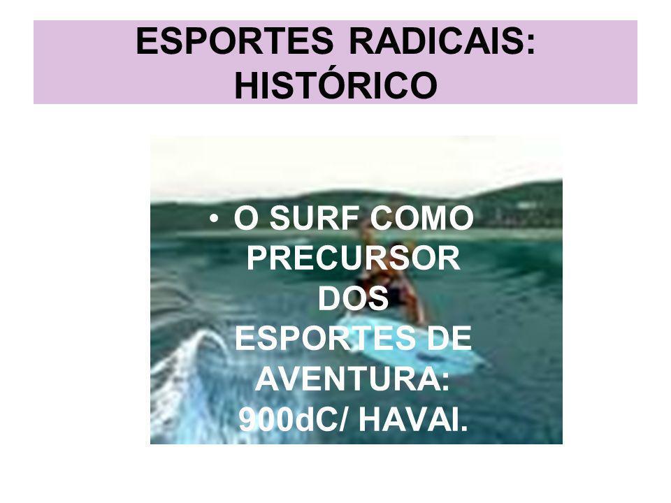 ESPORTES RADICAIS: HISTÓRICO Nos anos 80 houve um grande desenvolvimento dos esportes radicais.