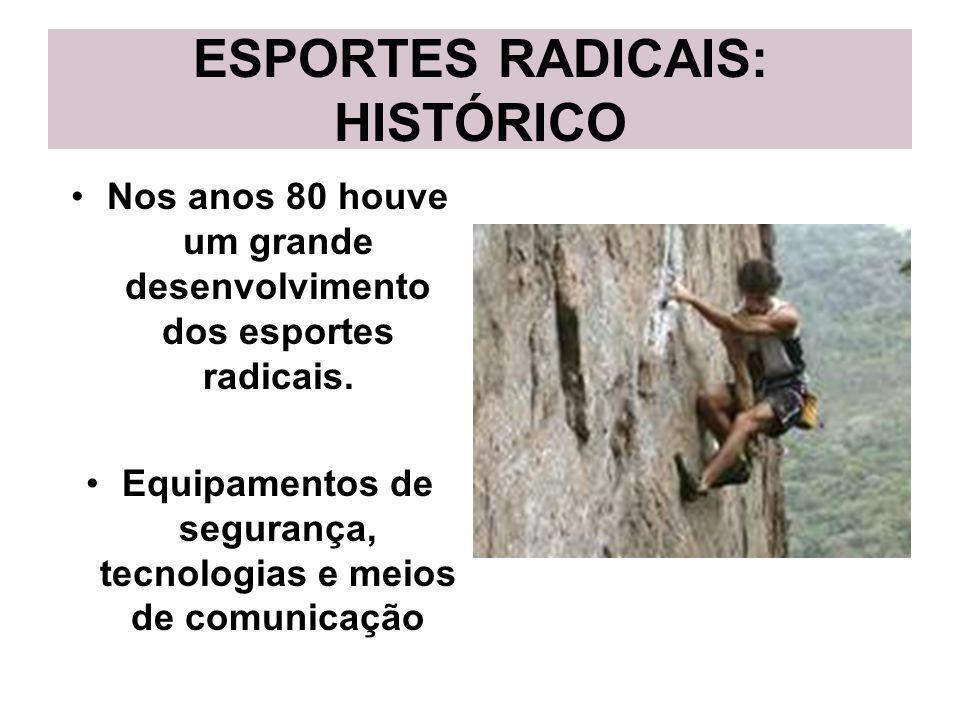 ESPORTES RADICAIS: HISTÓRICO Nos anos 80 houve um grande desenvolvimento dos esportes radicais. Equipamentos de segurança, tecnologias e meios de comu