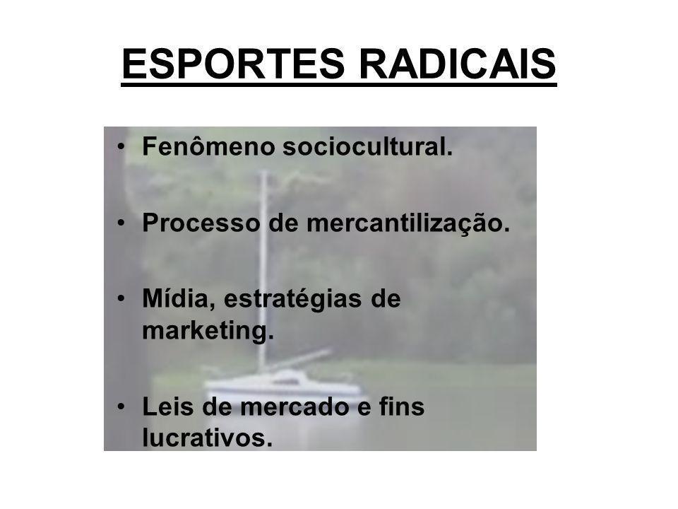 ESPORTES RADICAIS Fenômeno sociocultural. Processo de mercantilização. Mídia, estratégias de marketing. Leis de mercado e fins lucrativos.