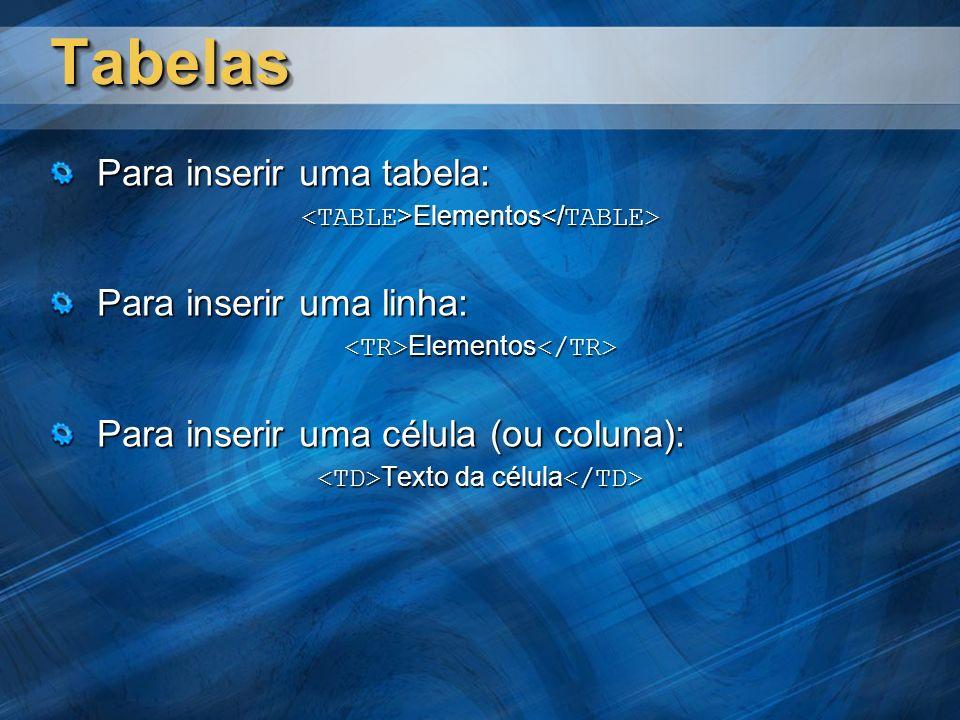 TabelasTabelas Para inserir uma tabela: Elementos Elementos Para inserir uma linha: Elementos Elementos Para inserir uma célula (ou coluna): Texto da célula Texto da célula