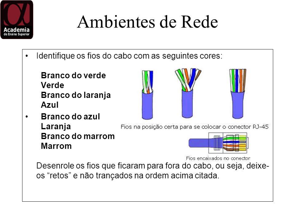 Identifique os fios do cabo com as seguintes cores: Branco do verde Verde Branco do laranja Azul Branco do azul Laranja Branco do marrom Marrom Desenrole os fios que ficaram para fora do cabo, ou seja, deixe- os retos e não trançados na ordem acima citada.