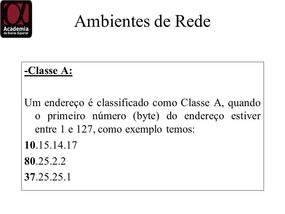 -Classe A: Um endereço é classificado como Classe A, quando o primeiro número (byte) do endereço estiver entre 1 e 127, como exemplo temos: 10.15.14.17 80.25.2.2 37.25.25.1 Ambientes de Rede
