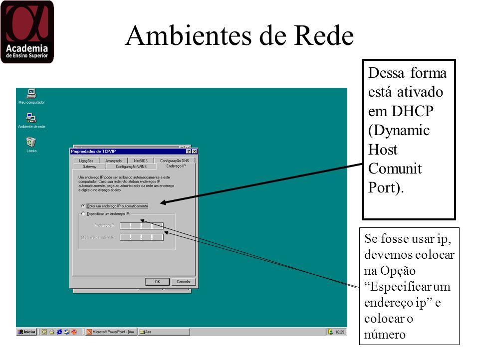 Dessa forma está ativado em DHCP (Dynamic Host Comunit Port).