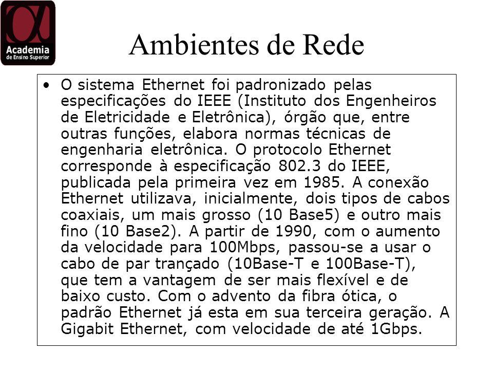 Ambientes de Rede O sistema Ethernet foi padronizado pelas especificações do IEEE (Instituto dos Engenheiros de Eletricidade e Eletrônica), órgão que, entre outras funções, elabora normas técnicas de engenharia eletrônica.