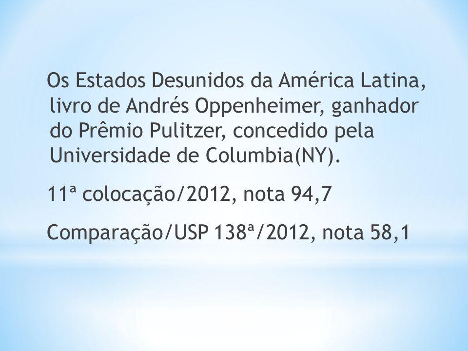 Os Estados Desunidos da América Latina, livro de Andrés Oppenheimer, ganhador do Prêmio Pulitzer, concedido pela Universidade de Columbia(NY). 11ª col