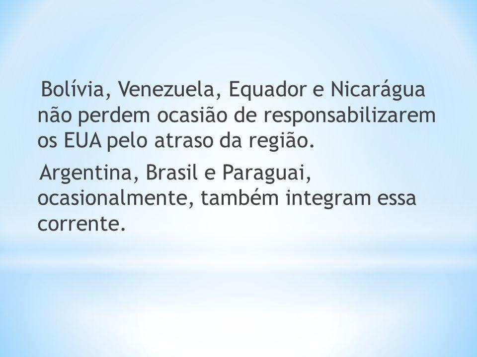 Bolívia, Venezuela, Equador e Nicarágua não perdem ocasião de responsabilizarem os EUA pelo atraso da região. Argentina, Brasil e Paraguai, ocasionalm