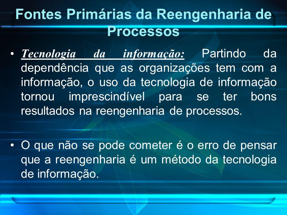 Fontes Primárias da Reengenharia de Processos Tecnologia da informação: Partindo da dependência que as organizações tem com a informação, o uso da tec