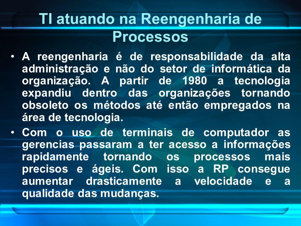 TI atuando na Reengenharia de Processos A reengenharia é de responsabilidade da alta administração e não do setor de informática da organização. A par