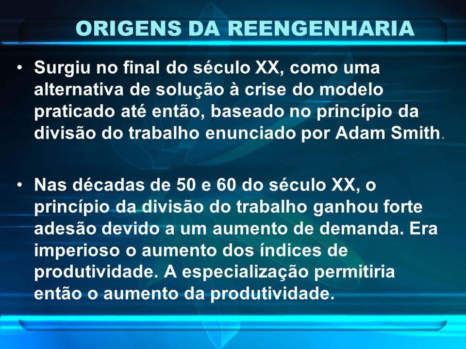 ORIGENS DA REENGENHARIA Surgiu no final do século XX, como uma alternativa de solução à crise do modelo praticado até então, baseado no princípio da d