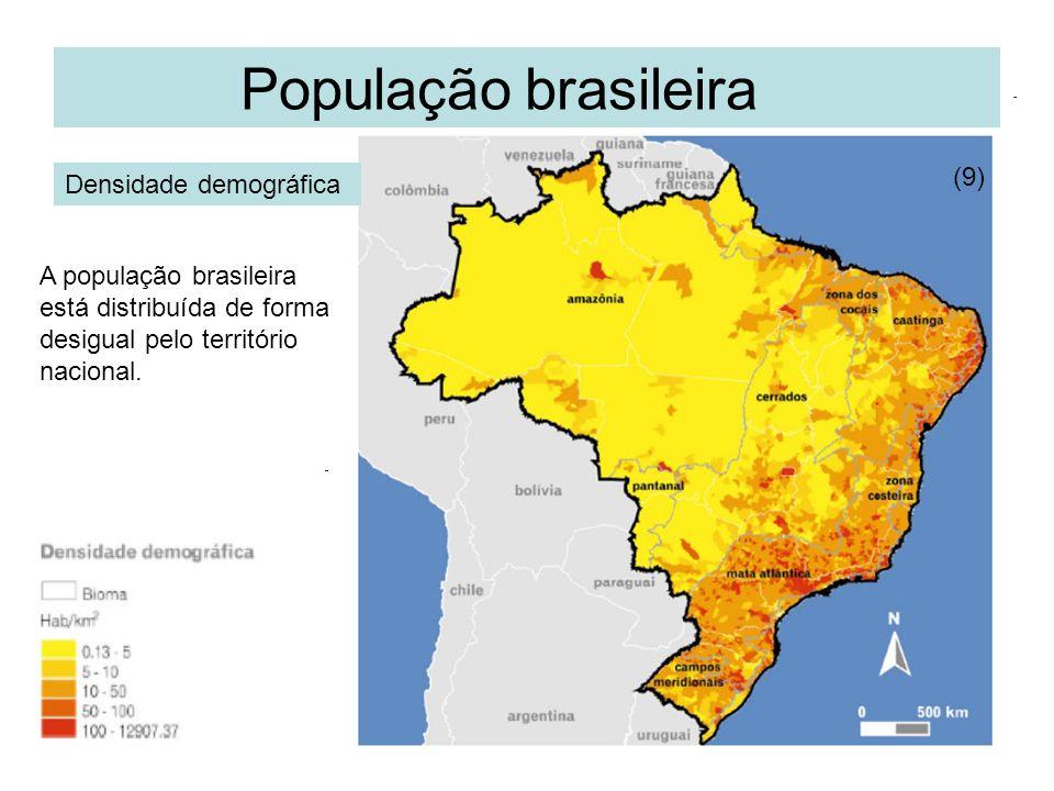 População brasileira Densidade demográfica (9) A população brasileira está distribuída de forma desigual pelo território nacional.