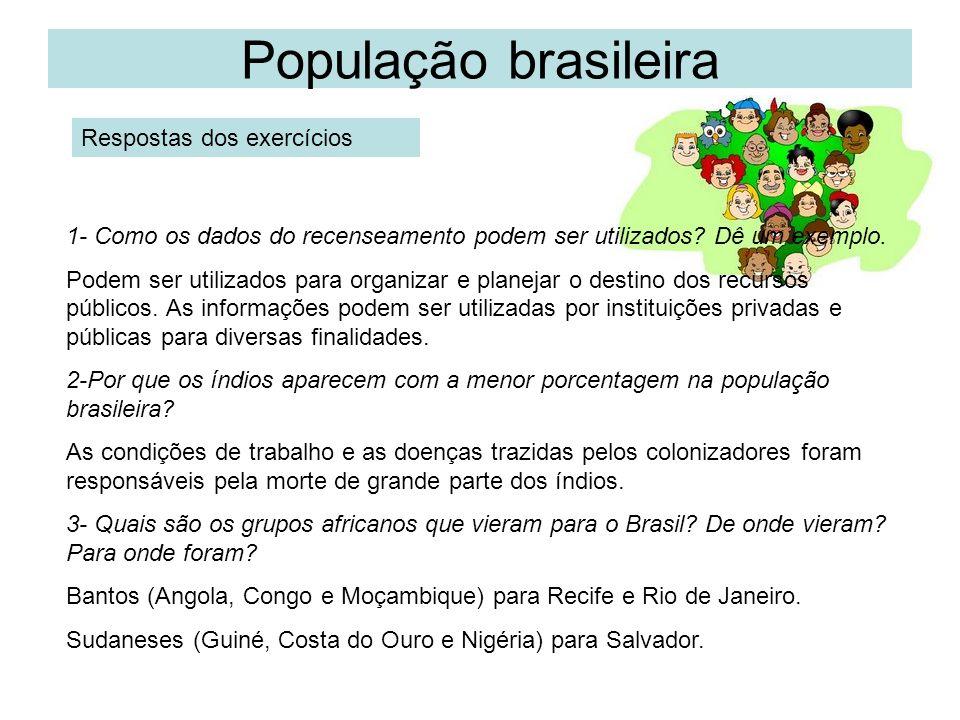 População brasileira Respostas dos exercícios 1- Como os dados do recenseamento podem ser utilizados? Dê um exemplo. Podem ser utilizados para organiz