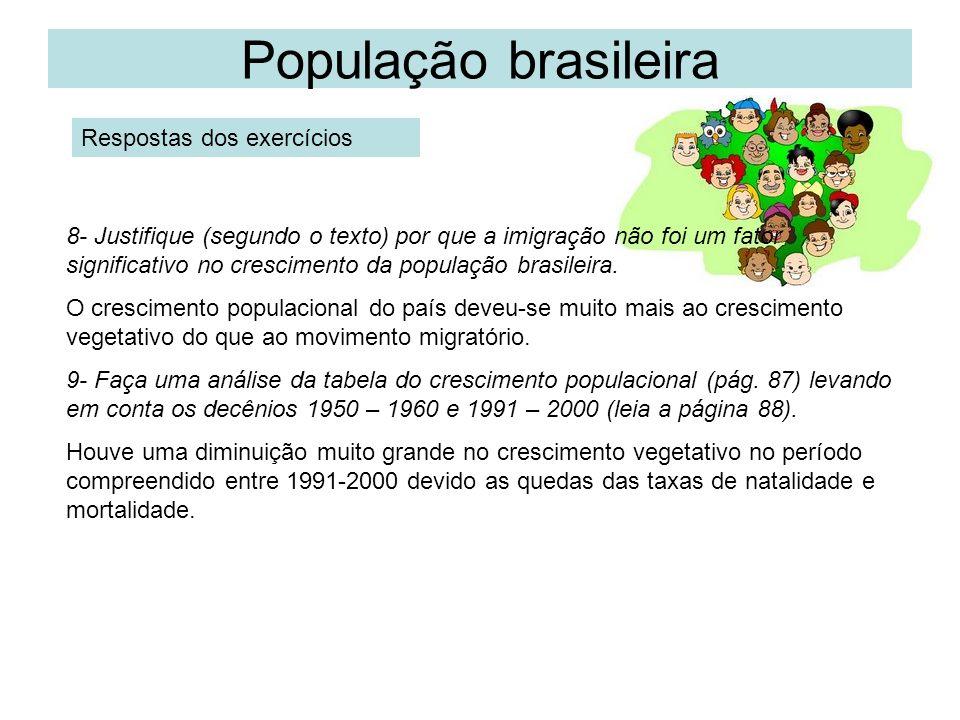 População brasileira Respostas dos exercícios 8- Justifique (segundo o texto) por que a imigração não foi um fator significativo no crescimento da pop