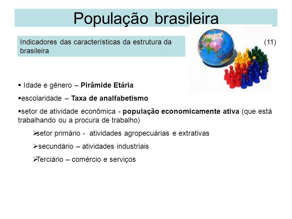 População brasileira Indicadores das características da estrutura da brasileira Idade e gênero – Pirâmide Etária escolaridade – Taxa de analfabetismo