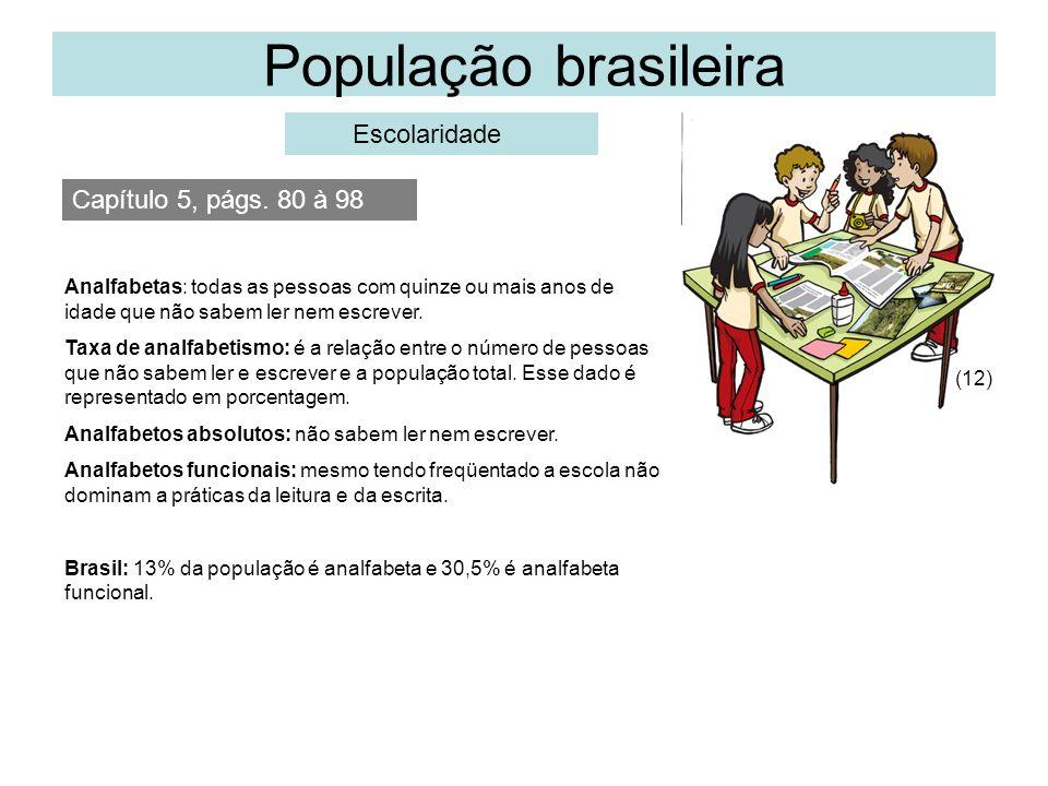 População brasileira Escolaridade Capítulo 5, págs. 80 à 98 (12) Analfabetas: todas as pessoas com quinze ou mais anos de idade que não sabem ler nem