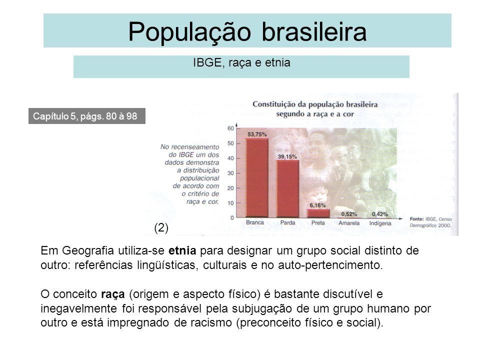 População brasileira IBGE, raça e etnia Capítulo 5, págs. 80 à 98 Em Geografia utiliza-se etnia para designar um grupo social distinto de outro: refer