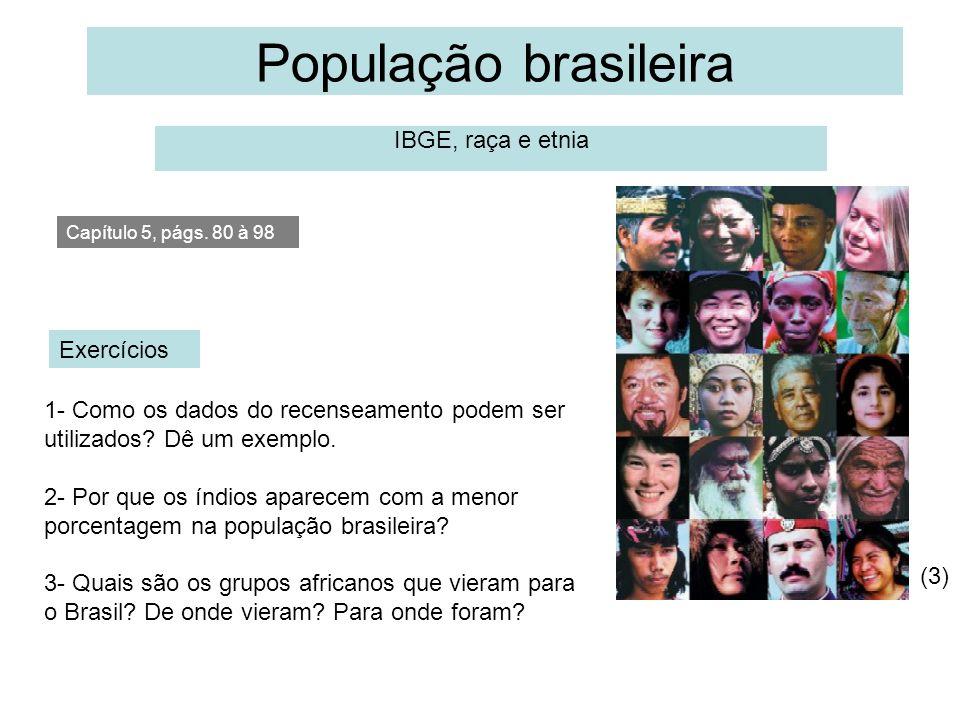 População brasileira IBGE, raça e etnia Capítulo 5, págs. 80 à 98 1- Como os dados do recenseamento podem ser utilizados? Dê um exemplo. 2- Por que os