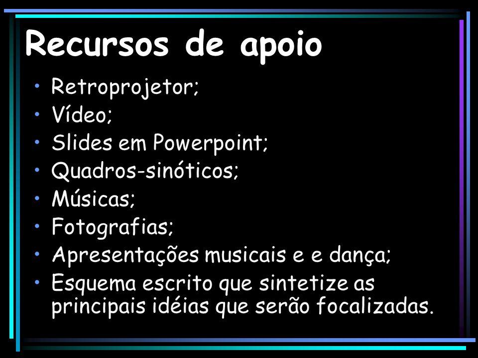 Recursos de apoio Retroprojetor; Vídeo; Slides em Powerpoint; Quadros-sinóticos; Músicas; Fotografias; Apresentações musicais e e dança; Esquema escri