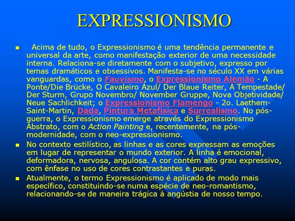 EXPRESSIONISMO EXPRESSIONISMO Acima de tudo, o Expressionismo é uma tendência permanente e universal da arte, como manifestação exterior de uma necess