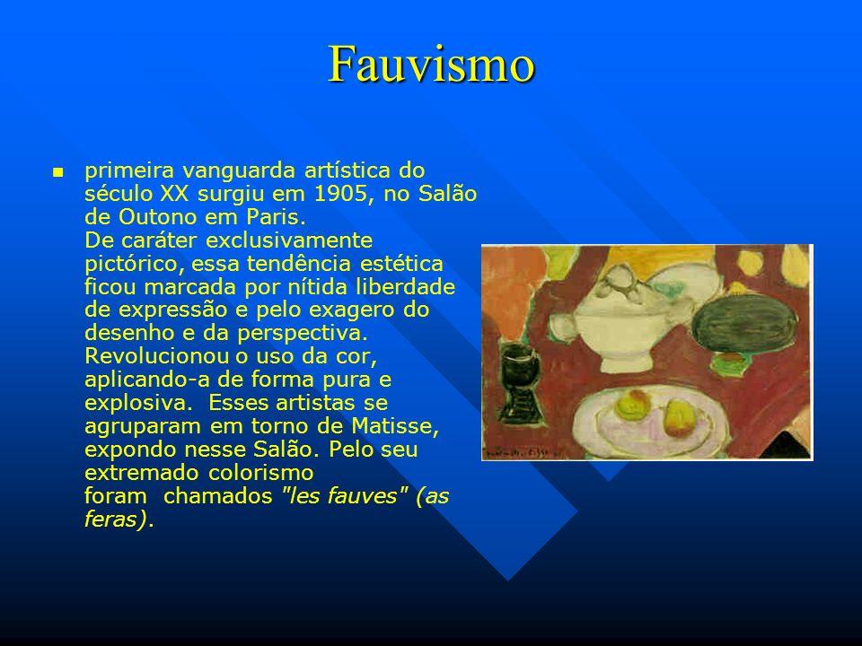 Fauvismo primeira vanguarda artística do século XX surgiu em 1905, no Salão de Outono em Paris. De caráter exclusivamente pictórico, essa tendência es
