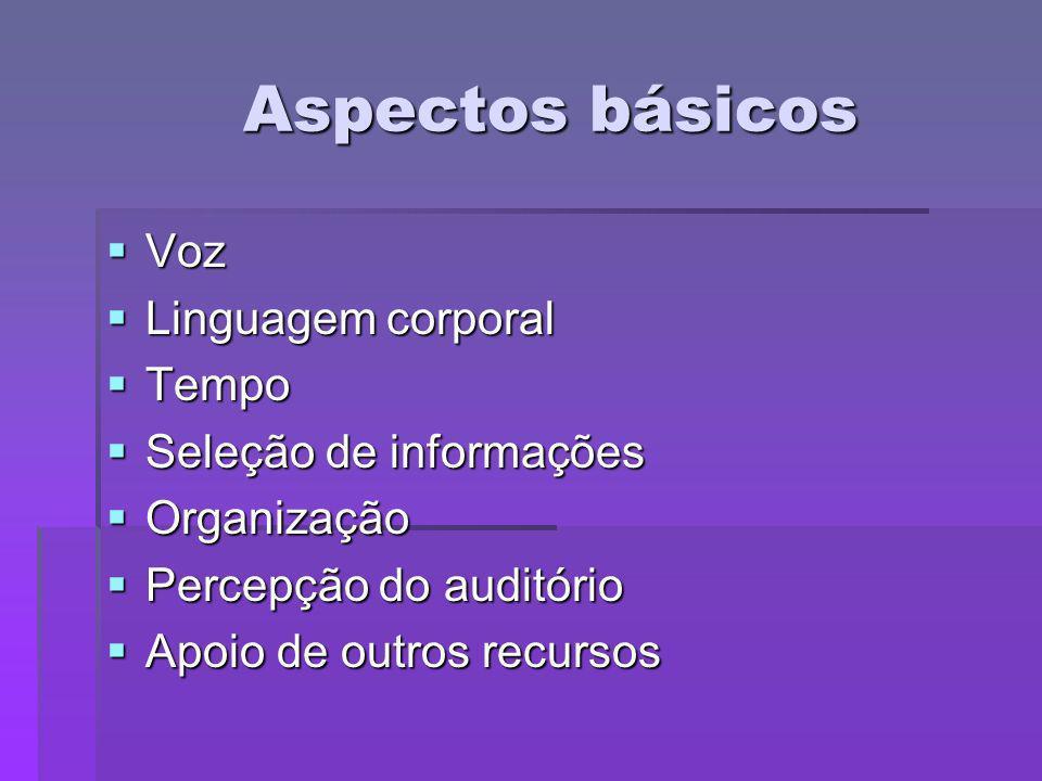 Aspectos básicos Voz Voz Linguagem corporal Linguagem corporal Tempo Tempo Seleção de informações Seleção de informações Organização Organização Perce