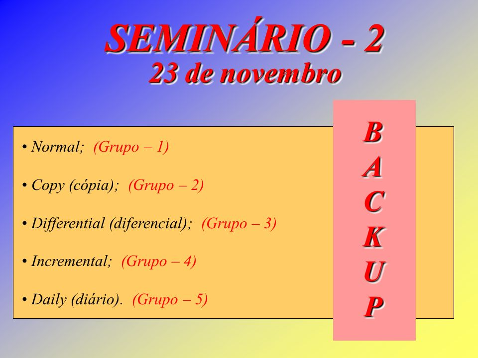 Normal; (Grupo – 1) Copy (cópia); (Grupo – 2) Differential (diferencial); (Grupo – 3) Incremental; (Grupo – 4) Daily (diário).