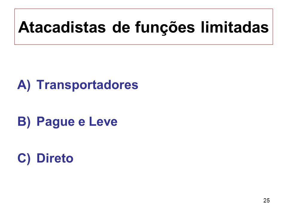25 Atacadistas de funções limitadas A)Transportadores B)Pague e Leve C)Direto