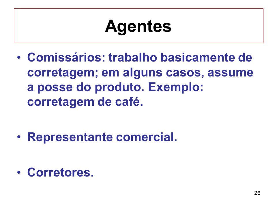 26 Agentes Comissários: trabalho basicamente de corretagem; em alguns casos, assume a posse do produto. Exemplo: corretagem de café. Representante com