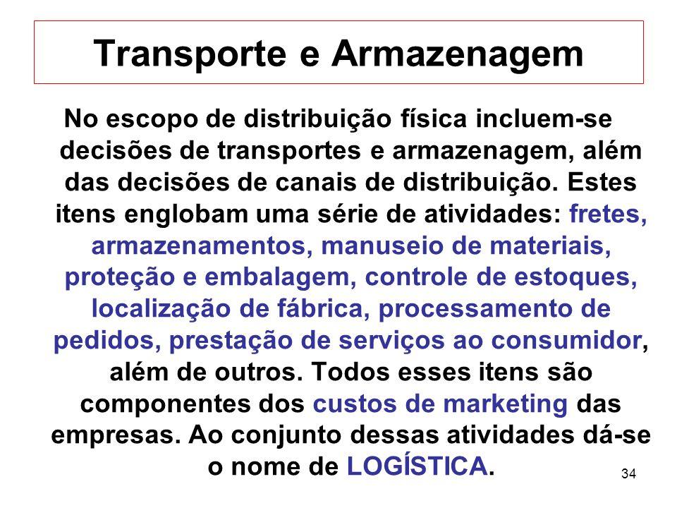 34 Transporte e Armazenagem No escopo de distribuição física incluem-se decisões de transportes e armazenagem, além das decisões de canais de distribu
