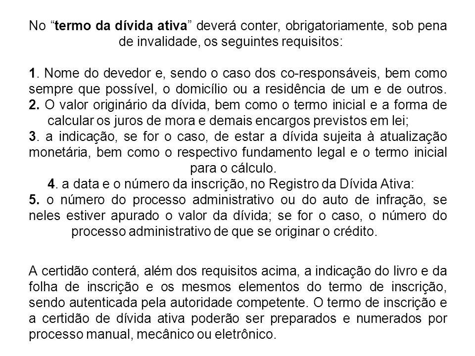 No termo da dívida ativa deverá conter, obrigatoriamente, sob pena de invalidade, os seguintes requisitos: 1.