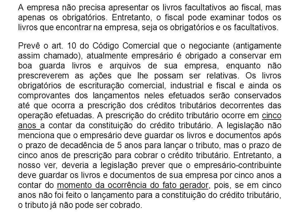 A empresa não precisa apresentar os livros facultativos ao fiscal, mas apenas os obrigatórios.