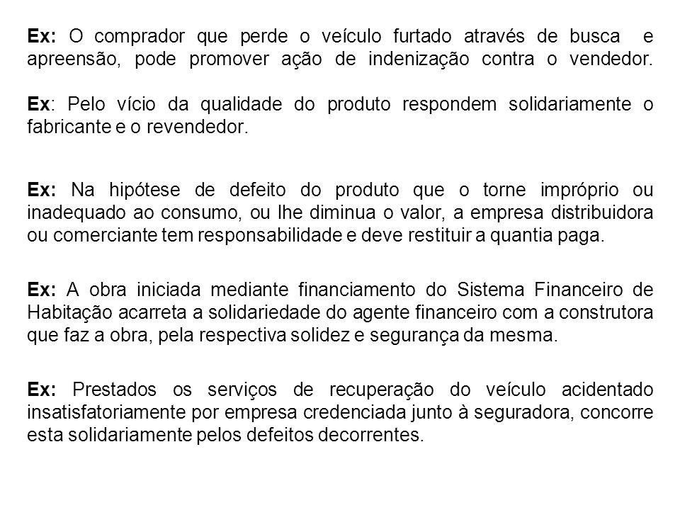 Ex: O comprador que perde o veículo furtado através de busca e apreensão, pode promover ação de indenização contra o vendedor.