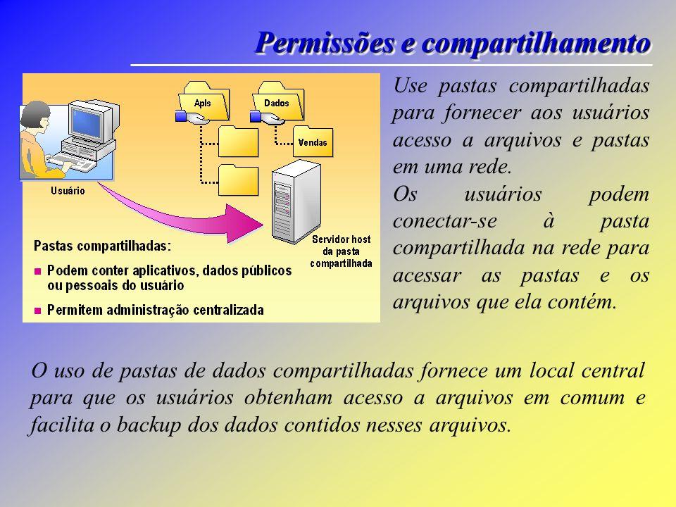Permissões e compartilhamento Use pastas compartilhadas para fornecer aos usuários acesso a arquivos e pastas em uma rede.