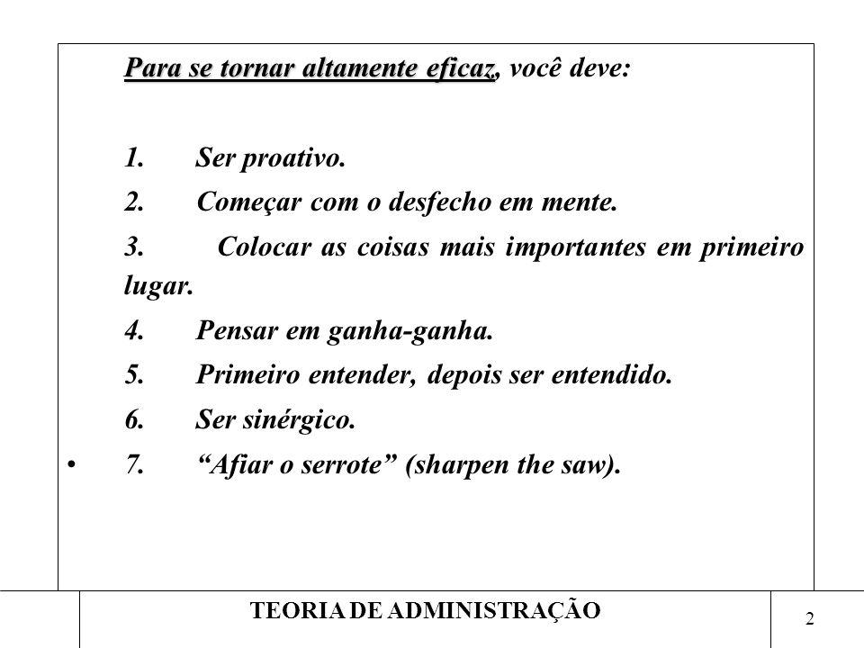 2 TEORIA DE ADMINISTRAÇÃO Para se tornar altamente eficaz Para se tornar altamente eficaz, você deve: 1. Ser proativo. 2. Começar com o desfecho em me