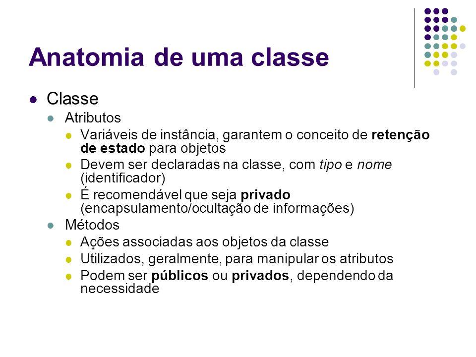 Anatomia de uma classe Java public class Classe { // atributos private tipo atributo1; private tipo atributo2; // métodos public tipo metodo(tipo parametro1, tipo parametro2,...) { // corpo do método } } Declaração da classe Limites do corpo da classe