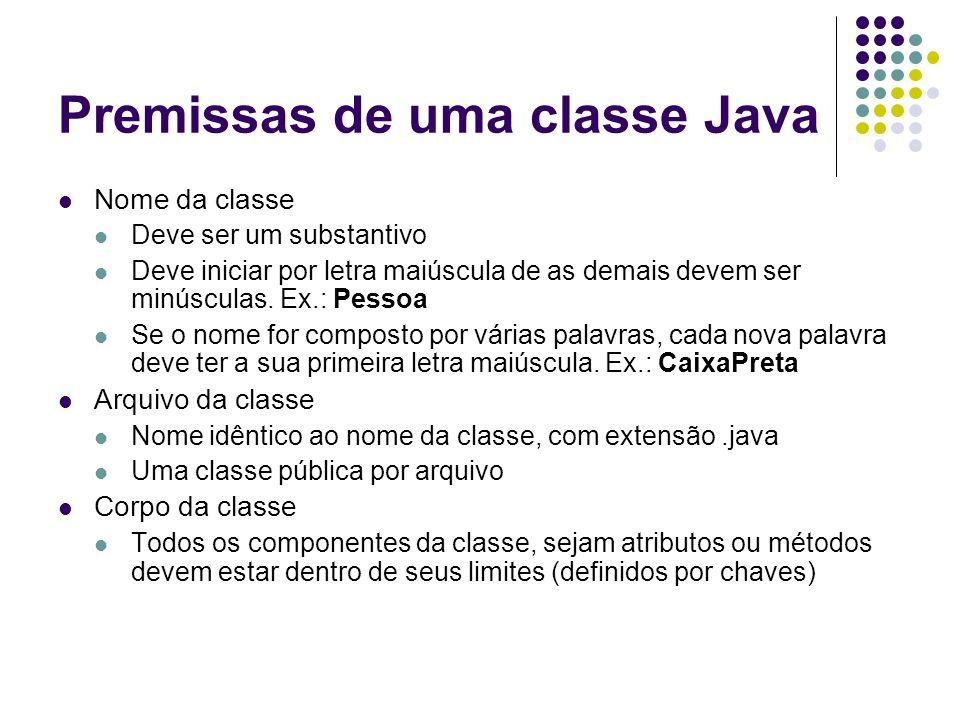 Premissas de uma classe Java Nome da classe Deve ser um substantivo Deve iniciar por letra maiúscula de as demais devem ser minúsculas. Ex.: Pessoa Se